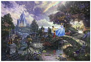 Charming Metal Prints - Cinderella Wishes Upon a Dream Metal Print by Thomas Kinkade