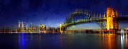 Sydney Skyline Digital Art Prints - City-Art SYDNEY Print by Melanie Viola