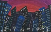 City Scape Paintings - City Sky by Lkb art and Photography