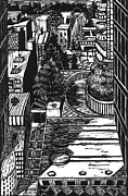 Linoleum Prints - City Print by Steve Dininno