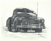 Chevrolet Truck Drawings - Classic 1950s Chevy Pick-up truck by Melena Paradee