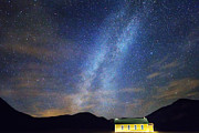 Stary Sky Posters - Classic Old Yellow School House Milky Way Sky Poster by James Bo Insogna
