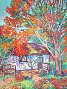 Kendall Kessler Paintings - Claytor Lake Cabin in Fall by Kendall Kessler