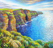 Steps Painting Posters - Cliffs of Moher Poster by Nancy Tilles