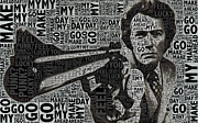 Decorate Mixed Media Prints - Clint Eastwood Dirty Harry Print by Tony Rubino