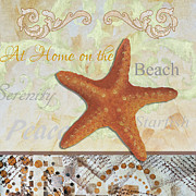 Megan Duncanson Metal Prints - Coastal Decorative Starfish Painting Decorative Art by Megan Duncanson Metal Print by Megan Duncanson