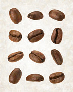 Coffee Prints Prints - Coffee Beans Print by Danny Smythe