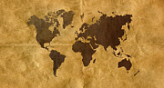Parchment Framed Prints - Coffee on Paper Look World Map Framed Print by Hakon Soreide