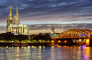 Riversides Prints - Cologne Cathedral with Rhine Riverside Print by Heiko Koehrer-Wagner