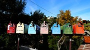 Love Letter Prints - Colorful Mailboxes Print by Nina Prommer