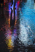 Sidewalk Prints - Colorful wet pavement Print by Garry Gay