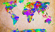World Map Drawings Posters - Colormix World Map Poster by Radu Aldea