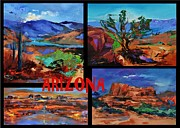 Desert Lake Painting Posters - Colors of Arizona Poster by Elise Palmigiani