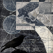 Crow Collage Posters - Corvus Star Chart Poster by Carol Leigh