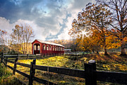Winter Scenes Rural Scenes Posters - Country Covered Bridge Poster by Debra and Dave Vanderlaan