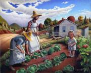 Americana Paintings - Country Farm Landscape - Family Garden - Folk Art - Americana by Walt Curlee