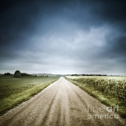 Field. Cloud Photo Prints - Country Road Through Fields, Denmark Print by Evgeny Kuklev