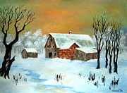 Serenity Scenes Landscapes Paintings - Country  Winter by Shasta Eone