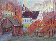Berkshire Hills Paintings - Covered Bridge in Autumn by Len Stomski
