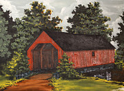 Covered Bridge Painting Metal Prints - Covered Bridge in Pennington Pa Metal Print by Jack Selby
