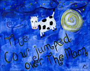 Nursery Rhyme Painting Prints - Cow Print by Katy  Scott