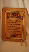 Plaque Pyrography Posters - Cowboy Blessing Poster by Dakota Sage