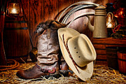 Cowboy Hat Framed Prints - Cowboy Gear Framed Print by Olivier Le Queinec