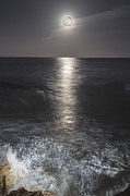 Sea Moon Full Moon Framed Prints - Crashing with the moon Framed Print by Bryan Toro