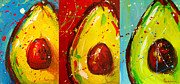 Interior Still Life Painting Metal Prints - Crazy Avocados triptych  Metal Print by Patricia Awapara
