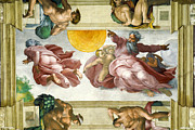 Famous Artists - Creation of Sun Moon and Planets Within the Sistine Chapel Ceiling by Michelangelo di Lodovico Buonarroti Simoni