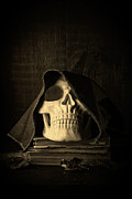 Book Cover Metal Prints - Creepy Hooded Skull Metal Print by Edward Fielding