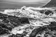 Gray And White Posters - Cresting Wave Poster by Jon Glaser