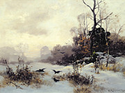 Snow On Trees Prints - Crows in a Winter Landscape Print by Karl Kustner