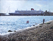 Queen Mary Paintings - Cunard Queen Mary as seen from Weston Shore by Martin Davey