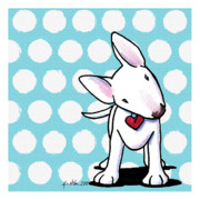 Bull Terrier Framed Prints - Curious Little Bully Framed Print by Kim Niles