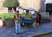 Fire Stones Prints - Cuzco Food Cart Print by Linda Phelps