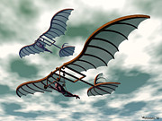 Kites Digital Art - Da Vincis Flying Machines by Walter Neal
