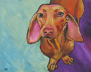 Dachshund Art Paintings - Dachshund - Stanley by Janet Burt