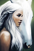 Lord Drawings Metal Prints - Daenerys Targaryen Metal Print by FHT Designs