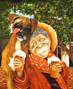 Boxer Puppy Paintings - Daisys Mocha Latte by Shelly Wilkerson