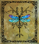Dragon Fly Mixed Media Posters - Damselfly Nouveau Poster by Jenny Armitage
