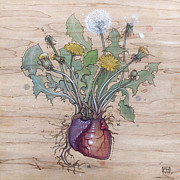 Wood Burning Pyrography Prints - Dandelion Heart Print by Fay Helfer
