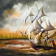 Sail-ship Framed Prints - Dangerous Tides Framed Print by Corporate Art Task Force