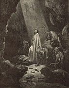 Christianity Drawings - Daniel in the Lions Den by Antique Engravings