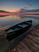Green Boat Prints - Dawn on lake Print by Davorin Mance