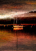 Water Vessels Mixed Media - Dawns Mist in Harbor by R Kyllo
