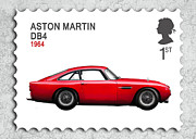 Aston Martin Framed Prints - DB4 Postage Stamp Framed Print by Mark Rogan