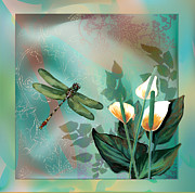 Decorative Floral Acrylic Prints - Deagenfly dream Acrylic Print by Gina Femrite