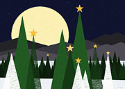 Snowy Night Prints - December Eve - Long night moon and Stars Print by Val Arie