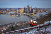 Downtown Pittsburgh Posters - December Evening Poster by Jennifer Grover